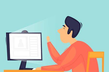 Communication on the Internet, remote work, virus, self-isolation. Flat design vector illustration.