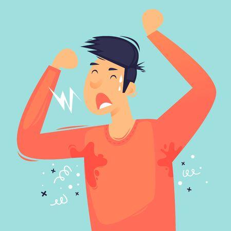 Heat, sweaty man. Flat design vector illustration. 向量圖像