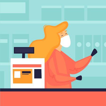 Cashier in a masked store, virus, security. Flat design vector illustration