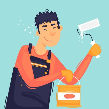 Painter with a roller and paint, repair, painting. Flat design vector illustration. 向量圖像