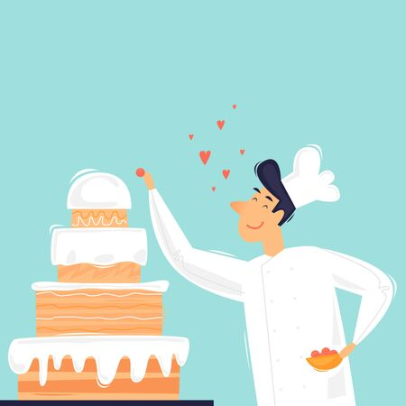 Cook prepares cake, pastry shop, sweets, pastries. Flat design vector illustration 向量圖像