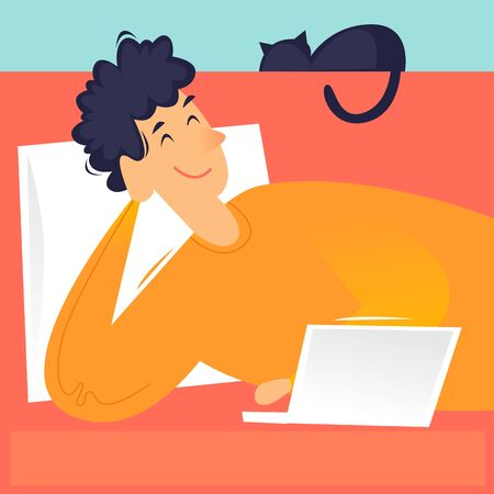 Man lies on a sofa with a laptop watching a series, remote work, self-isolation. Flat design vector illustration.
