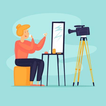 Beauty blogger shooting fashion videos, cosmetics. Flat design vector illustration.