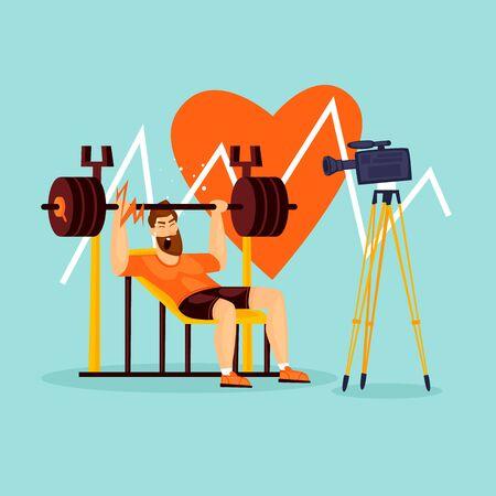 Athlete shoots a blog, fitness, muscles. Flat design vector illustration.