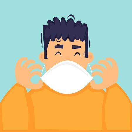 Man puts on a mask, a virus, a cold. Flat design vector illustration.