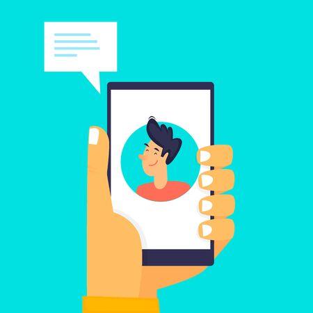 Online communication, communication on the Internet, remote work, self-isolation. Flat design vector illustration 向量圖像