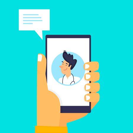 Online doctor, telephone consultation. Flat design vector illustration.