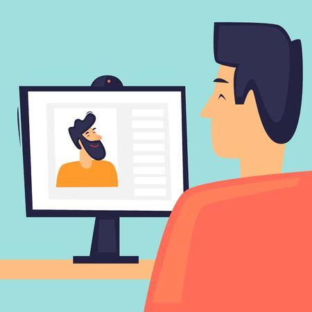 Online communication, communication on the Internet, remote work, self-isolation. Flat design vector illustration.