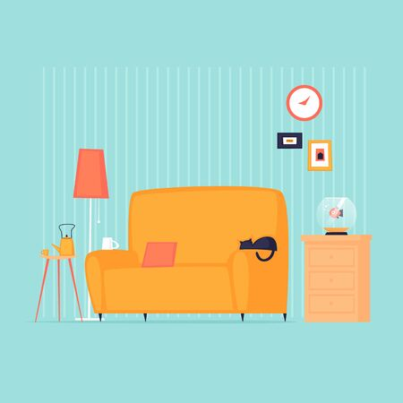Home interior with a sofa. Flat design vector illustration. 向量圖像