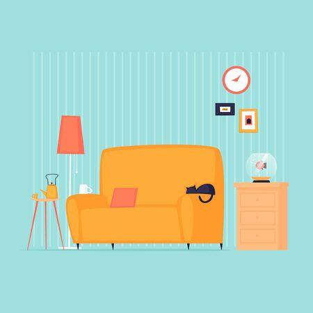 Home interior with a sofa. Flat design vector illustration. 版權商用圖片 - 145860864