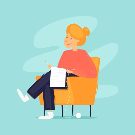 Woman sits in a chair knits, self-isolation. Flat design vector illustration. 版權商用圖片 - 145860863