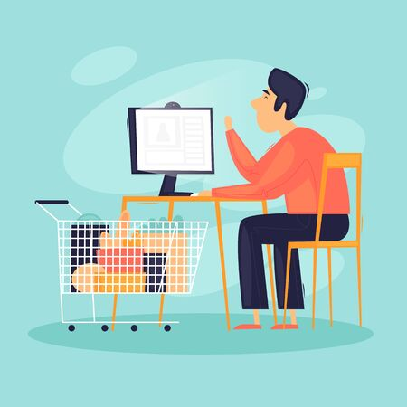 Man orders products on the Internet, an online store. Flat design vector illustration. 向量圖像
