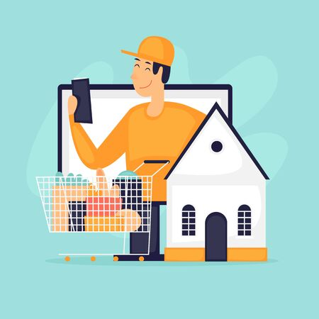 Home delivery, online store, courier with products. Flat design vector illustration.