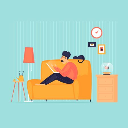 Man sits on a sofa with a laptop, remote work, self-isolation, a weekend. Flat design vector illustration. 版權商用圖片 - 145860861