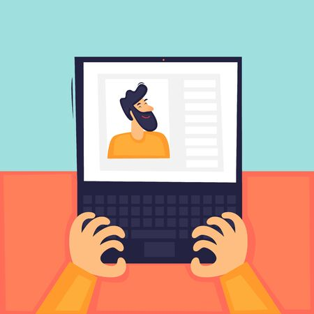 Online communication, remote work, correspondence, freelance, a man communicates through a laptop. Flat design vector illustration.