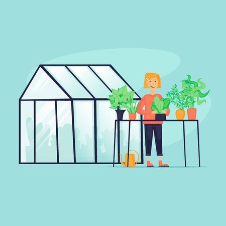 Woman near the greenhouse, agriculture. Flat design vector illustration. Illusztráció