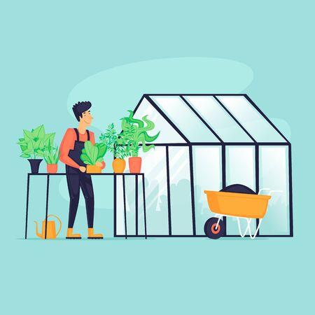 Man near the greenhouse, agriculture, spring, vegetable planting season. Flat design vector illustration.