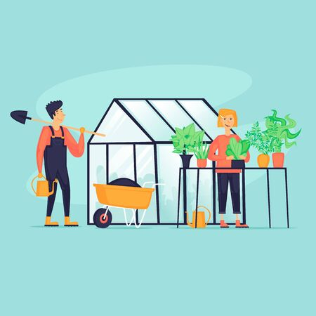 Man and woman near the greenhouse, agriculture. Flat design vector illustration.