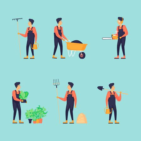 Man is engaged in agriculture, a set of characters. Flat design vector illustration. 向量圖像
