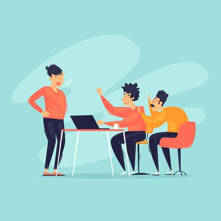 Teamwork, business, group of people discuss. Office work. Flat design vector illustration.