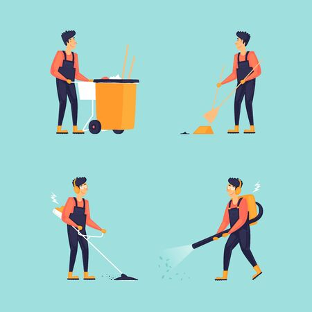 Cleaner, busy character set, clean streets. Flat design vector illustration.