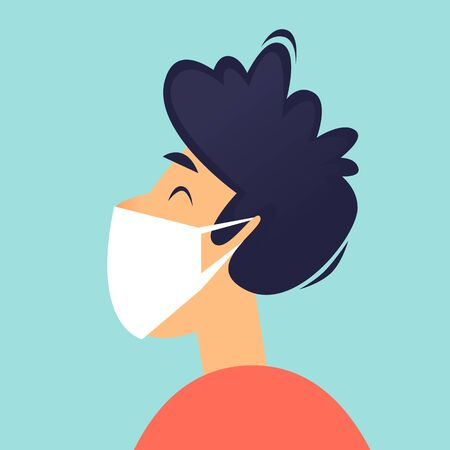Man with a mask on his face, a virus. Flat design vector illustration. 向量圖像