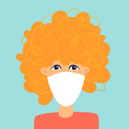 Woman with a mask on her face, a virus. Flat design vector illustration. 版權商用圖片 - 145860869