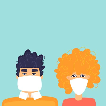 Man and woman with a mask on his face, a virus. Flat design vector illustration. Illusztráció