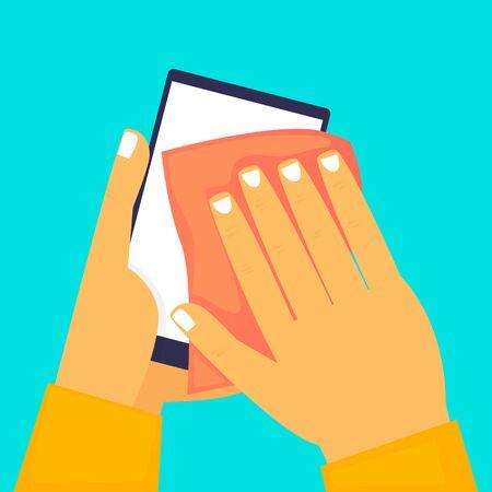 Hands wipe the phone, virus. Flat design vector illustration.