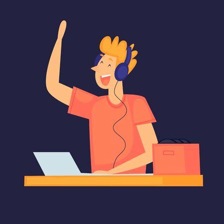 DJ plays music. A party. Flat design vector illustration.