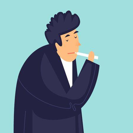 Man measures the temperature of a virus. Health care. Flat design vector illustration.