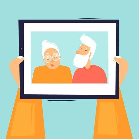 Online chat. Hands holding tablet. Flat design vector illustration. 向量圖像