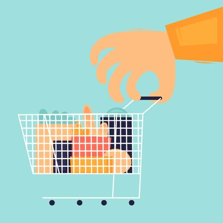 Buying food, hand holds a basket of products. Flat design vector illustration. 版權商用圖片 - 146235171