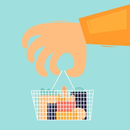 Buying food, hand holds a basket of products. Flat design vector illustration.