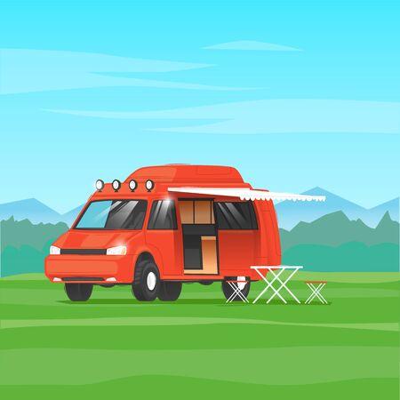Camping, camper voyage. Flat design vector illustration.