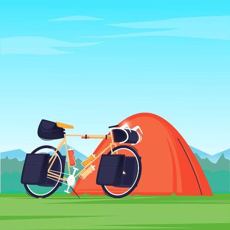 Bikepacking, traveling by bike. Flat design vector illustration. 向量圖像