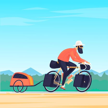 Man travels on a bike with a trailer, cycling, bikepacking. Flat design vector illustration. 版權商用圖片 - 146605234