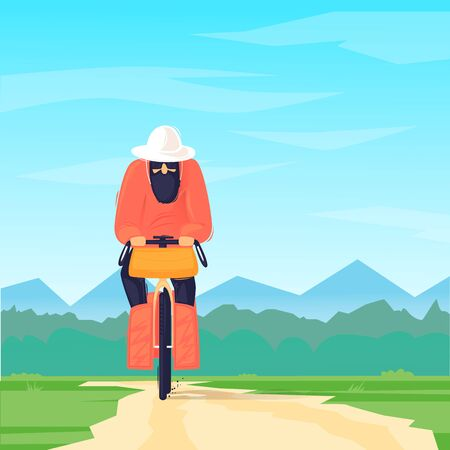 Man travels by bicycle, cycling, bikepacking. Flat design vector illustration.
