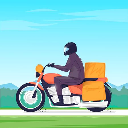 Man travels on a motorcycle. Touring. Flat design vector illustration. 版權商用圖片 - 147173000