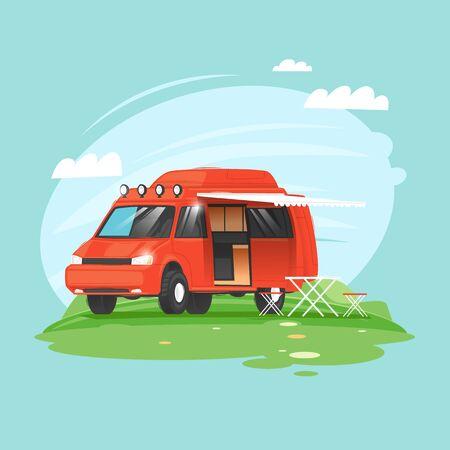 Camping, camper voyage, van. Flat design vector illustration. 向量圖像