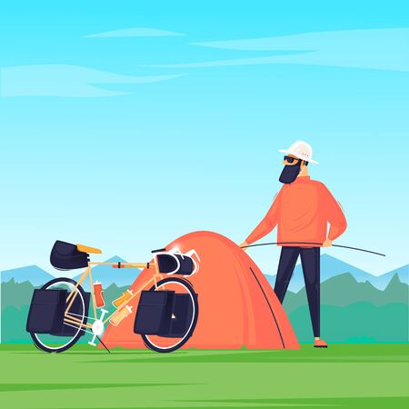 Man puts up a tent, travels on a bicycle. Cycling, bikepacking. Flat design vector illustration. 版權商用圖片 - 147173921