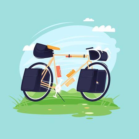 Biking, cycling, hiking, bike with bags. Flat design vector illustration.