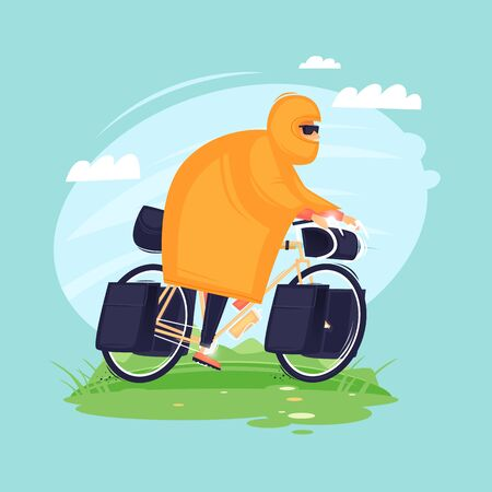 Bikepacking. Man rides in a raincoat on a bicycle, traveling by bicycle. Flat design vector illustration. 版權商用圖片 - 147750897