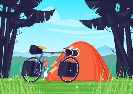 Camping, traveling by bike with tent. Flat design vector illustration.