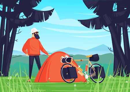 Camping, bike ride. Man puts up a tent in the forest. Flat design vector illustration. 版權商用圖片 - 147677653