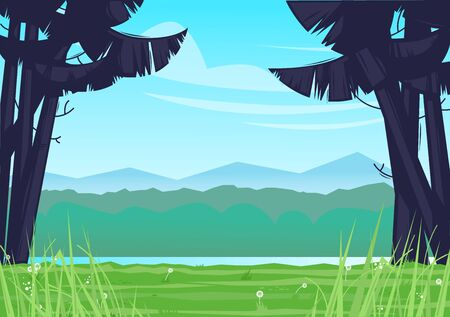 Camping, landscape overlooking the river. Flat design vector illustration. 版權商用圖片 - 147677871