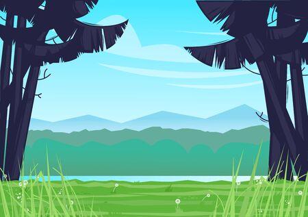 Camping, landscape overlooking the river. Flat design vector illustration.