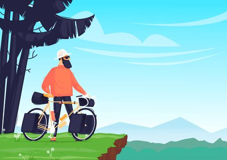 Camping, bike ride. Man With a Bicycle. Flat design vector illustration.