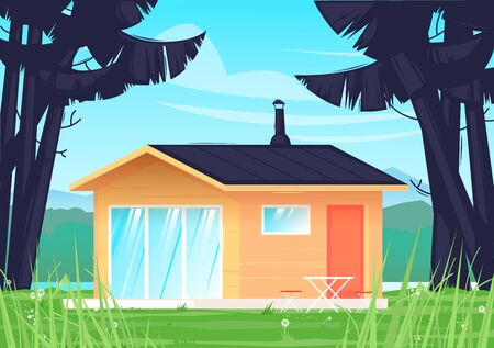 Camping, landscape with a house in the forest. Flat design vector illustration.