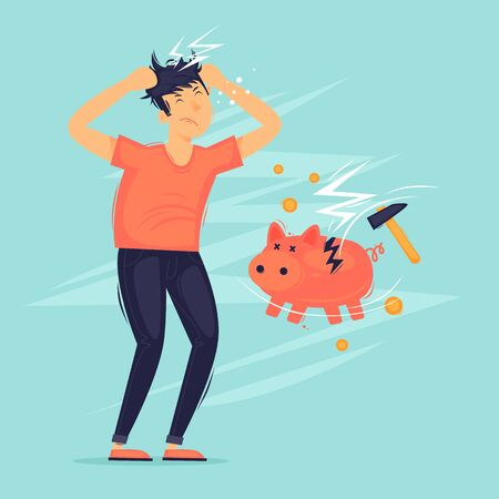 Crisis, a man has a headache, a broken piggy bank. Flat design vector illustration.